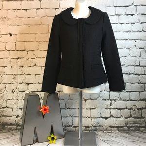 Boden Boiled Wool Cropped Blazer Sz 8P Black